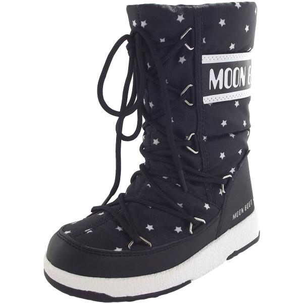 Moon Boot Jr Girl Quilted Star WP Mädchen Winterstiefel schwarz/weiß (black/white)