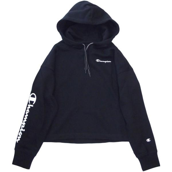 Champion Hooded Crop Top Damen Hoodie-Sweathshirt schwarz (nbk)