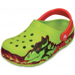 Crocs CrocsLights Fire Dragon Kinder Clogs giftgrün (volt green)