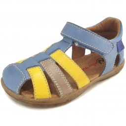 Naturino See Kinder Sandale blau/gelb (jeans/giallo/tortora)