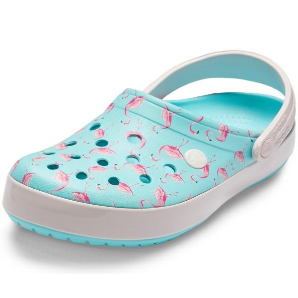 46916c80d6d02 Crocs Crocband Seasonal Graphic Women Clogs ice blue pink