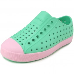 Native Shoes Jefferson Child Mädchen Slipper türkis (atlantis blue/princess pink)