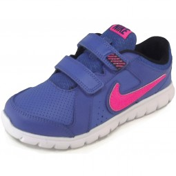 Nike Flex Experience Leather Mädchen Laufschuhe royalblau/pink (gm ryl/hypr pink)
