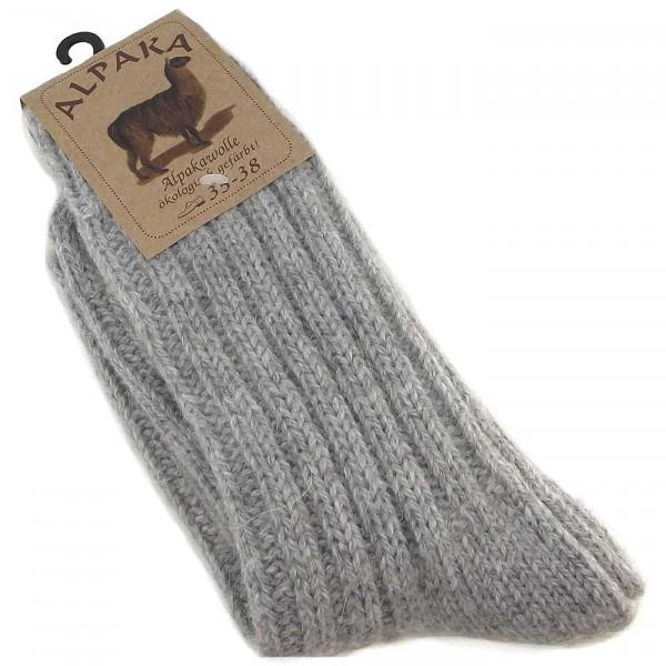Fellhof Alpaka Unisex Socken Dick grau