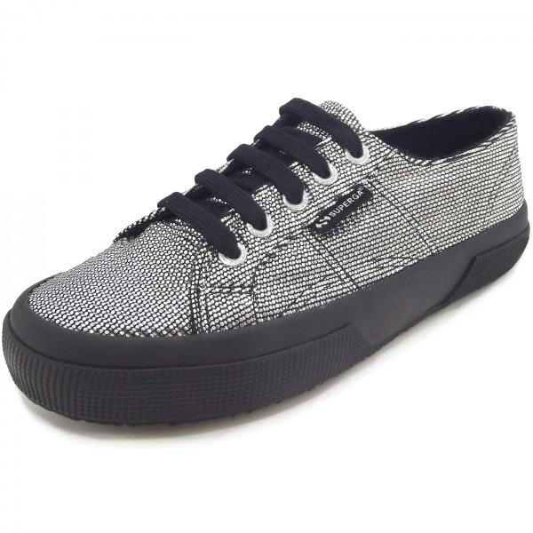 get cheap 2ff36 ad13a Superga 2750 Plisselamew Damen Sneaker silber/schwarz (grey silver)