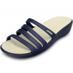Crocs Rhonda Wedge Damen Sandalen dunkelblau (nautical navy/stucco)