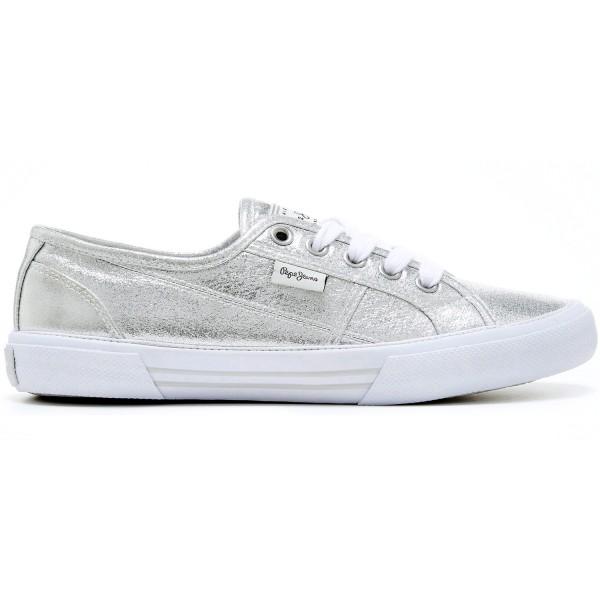 Pepe Jeans Aberlady Shine Damen Metallic-Sneaker Silber (Silver)