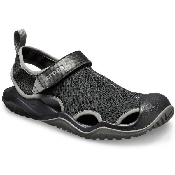Crocs Swiftwater Mesh Deck Sandal Herren Aqua-Schuhe Schwarz (Black)