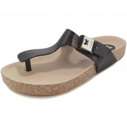 Zaxy Fashion Flat Thong Damen Zehenstegsandale schwarz/beige (black/glitter)