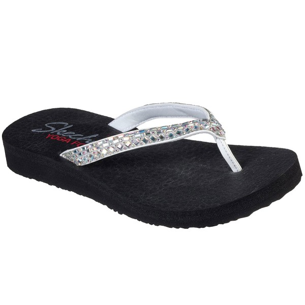 Skechers Meditation Shine Away Damen Zehenstegsandale schwarz/weiß (white)