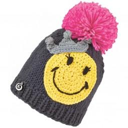 Brekka Smile Crochet Pon Kleinkinder Wintermütze grau/gelb/rosa