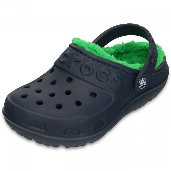 Crocs Hilo Lined Kids Kinder Clogs navy/grass green
