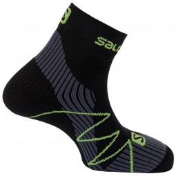 Salomon Fast Wings Unisex Trailrunning Socken black/granny green