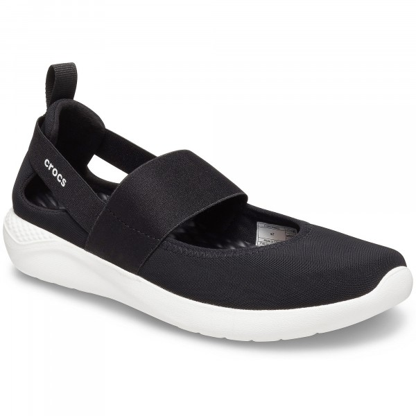 Crocs Literide Mary Jane Damen Soft Ballerina schwarz/weiß (black/white)