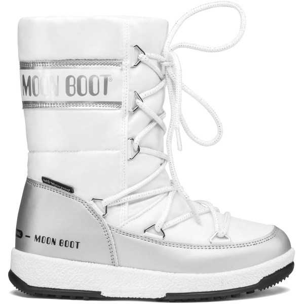 Moon Boot Jr Girl Quilted WP Mädchen Winterstiefel Weiß/Silber (White/Silver)