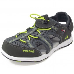 Viking Thrill Kinder Trekkingsandale grau/lime (charcoal/lme)