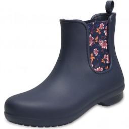 Crocs Freesail Chelsea Boot Damen Regenstiefel dunkelblau (navy/floral)