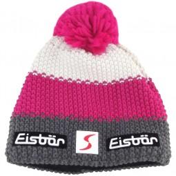Eisbär Star Pompon SP Damen Strickmütze grau/pink/weiß