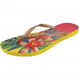 Havaianas Slim Tropical Damen Zehenstegsandale gelb/mehrfarbig (light yellow)