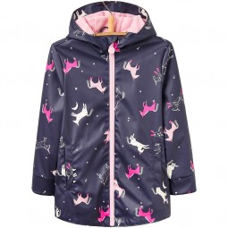 Joules Raindance Waterproof Mädchen Regenmantel french navy multi horse
