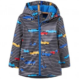 Joules Skipper Waterproof Jungen Regenmantel navy stripe cars